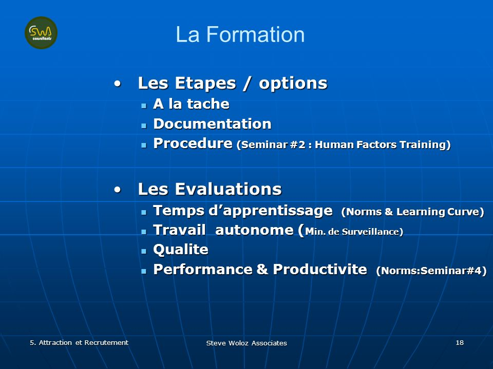 Steve Woloz Associates 18 La Formation Les Etapes / optionsLes Etapes / options A la tache A la tache Documentation Documentation Procedure (Seminar #2 : Human Factors Training) Procedure (Seminar #2 : Human Factors Training) Les EvaluationsLes Evaluations Temps dapprentissage (Norms & Learning Curve) Temps dapprentissage (Norms & Learning Curve) Travail autonome ( M in.