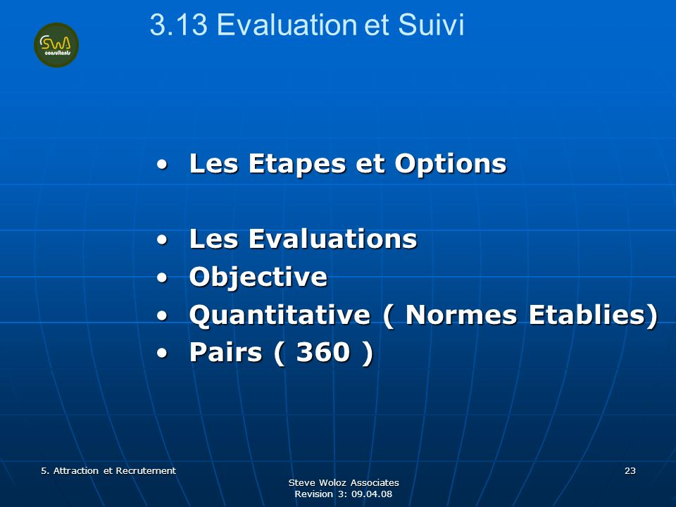 Steve Woloz Associates Revision 3: 09.04.08 23 3.13 Evaluation et Suivi Les Etapes et OptionsLes Etapes et Options Les EvaluationsLes Evaluations ObjectiveObjective Quantitative ( Normes Etablies)Quantitative ( Normes Etablies) Pairs ( 360 )Pairs ( 360 ) 5.
