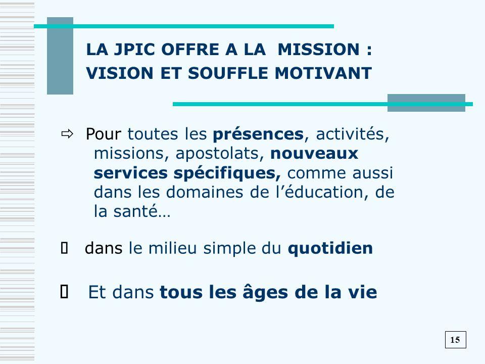 LA JPIC OFFRE A LA MISSION : VISION ET SOUFFLE MOTIVANT Pour toutes les présences, activités, missions, apostolats, nouveaux services spécifiques, com