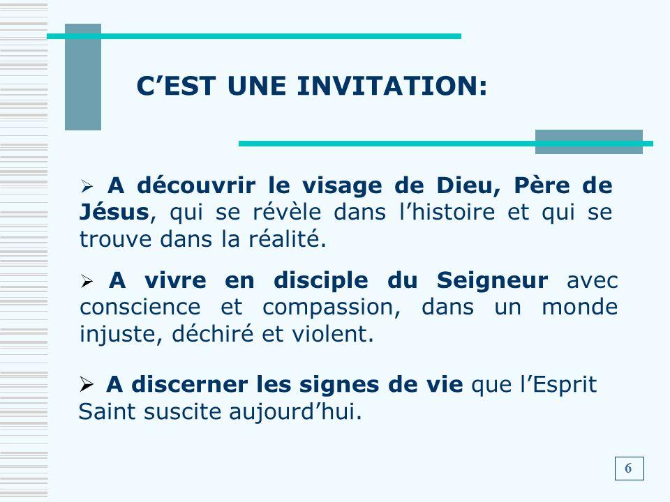 CEST UNE INVITATION: A vivre en disciple du Seigneur avec conscience et compassion, dans un monde injuste, déchiré et violent. A discerner les signes