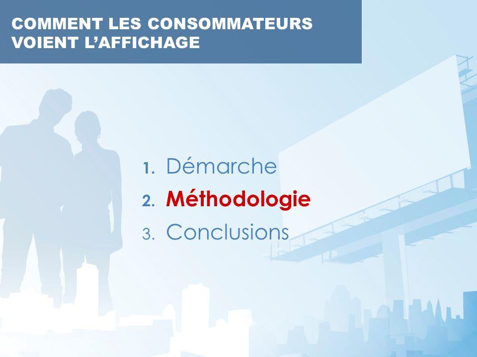 COMMENT LES CONSOMMATEURS VOIENT LAFFICHAGE 1. Démarche 2. Méthodologie 3. Conclusions COMMENT LES CONSOMMATEURS VOIENT LAFFICHAGE