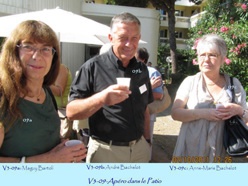 V3-09-Apéro dans le Patio V3-09a : Maguy Bartoli V3-09b: André Bachelot V3-09c : Anne-Marie Bachelot 09a 09c 09b