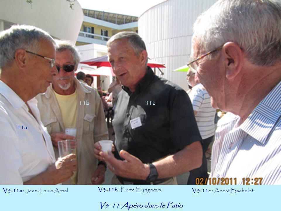 V3-11-Apéro dans le Patio V3-11a : Jean-Louis Arnal V3-11b : Pierre Eyrignoux V3-11c : André Bachelot 11a 11b11c