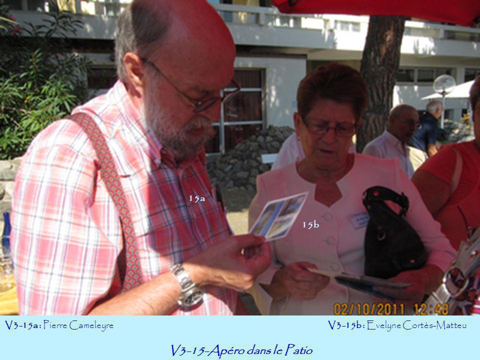 V3-15-Apéro dans le Patio V3-15a : Pierre Cameleyre V3-15b : Evelyne Cortès-Matteu 15a 15b