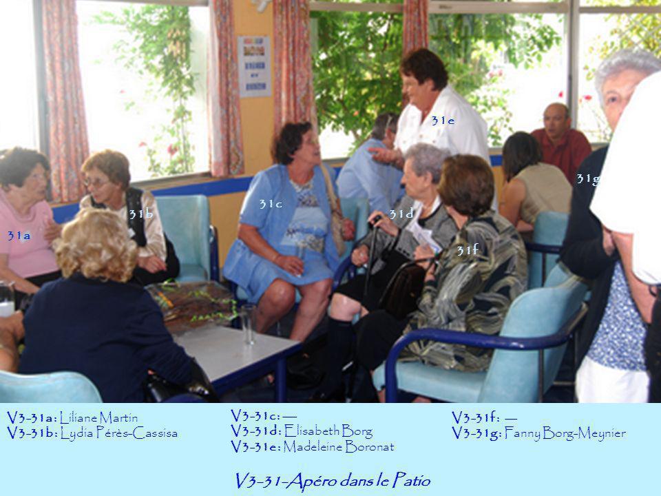 V3-31-Apéro dans le Patio 31a 31f 31e 31g 31b31d 31c V3-31a : Liliane Martin V3-31b : Lydia Pérès-Cassisa V3-31c : --- V3-31d : Elisabeth Borg V3-31e
