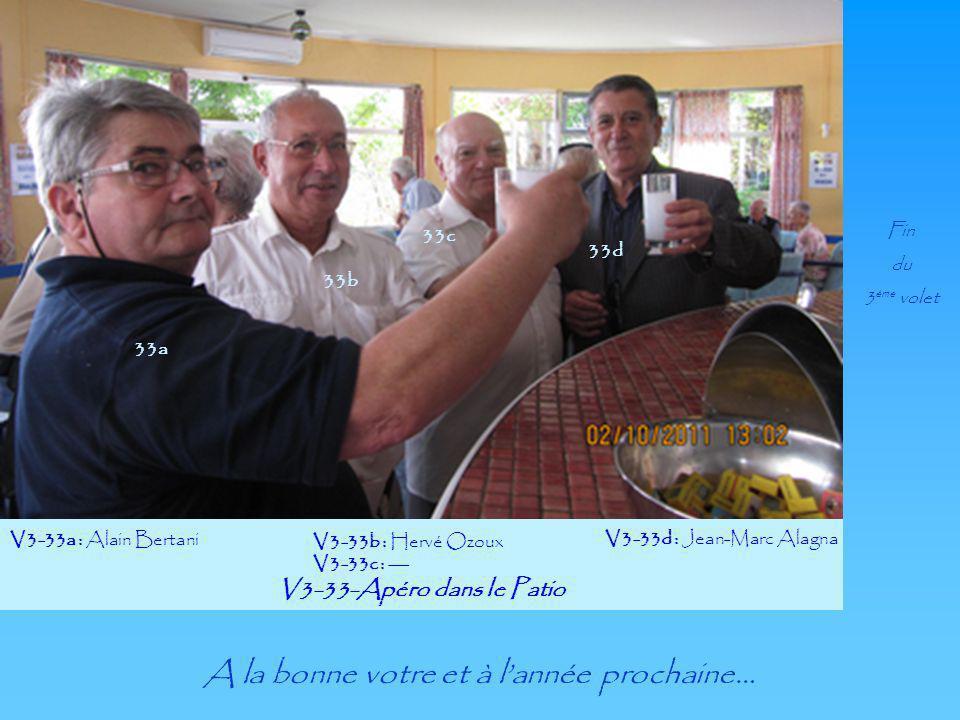 V3-33-Apéro dans le Patio V3-33a : Alain Bertani V3-33b : Hervé Ozoux V3-33c : --- V3-33d : Jean-Marc Alagna 33a 33c 33b 33d Fin du 3 ème volet A la b