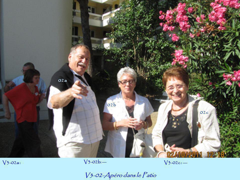 V3-03-Apéro dans le Patio V3-03a : --- V3-03b: Jean Matt&ra V3-03c : Ghislaine Bloch 03a 03c 03b