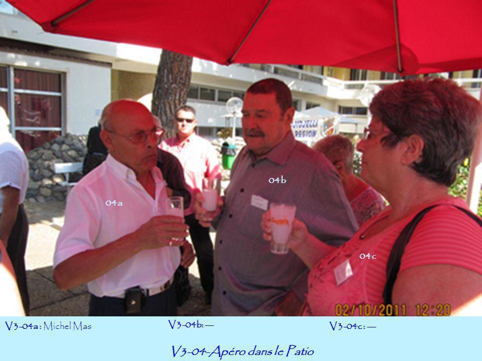 V3-04-Apéro dans le Patio V3-04a : Michel Mas V3-04b: --- V3-04c : --- 04a 04c 04b