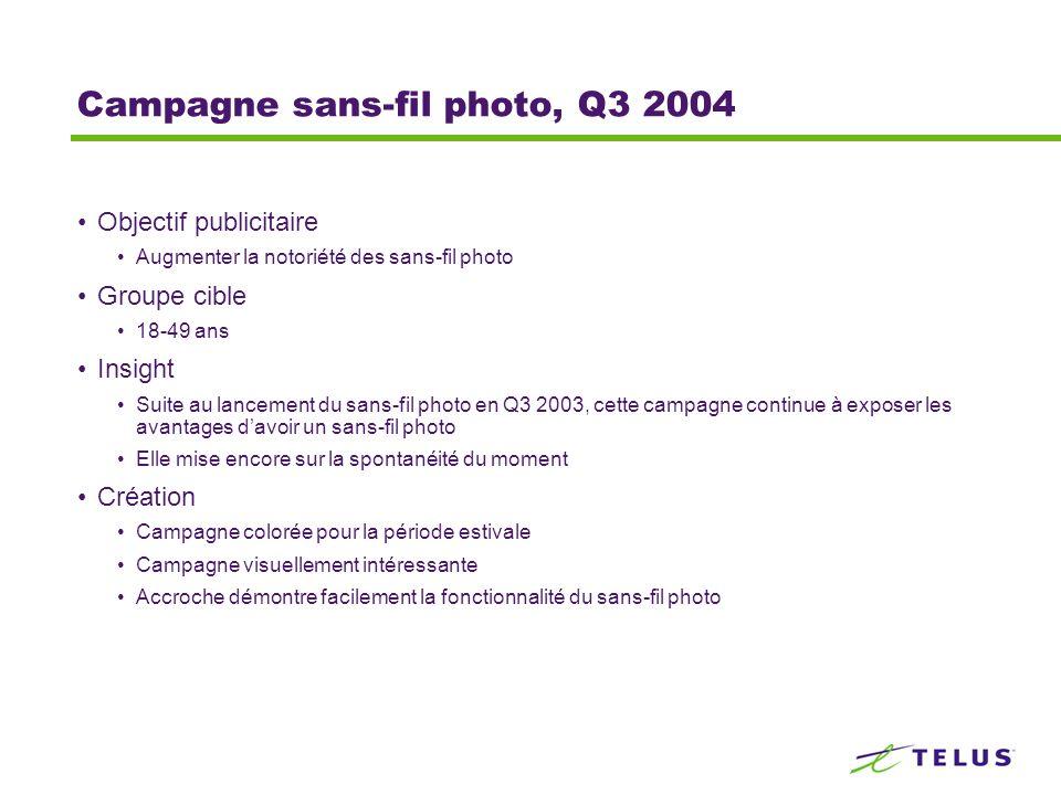 Campagne sans-fil photo, Q3 2004 Objectif publicitaire Augmenter la notoriété des sans-fil photo Groupe cible 18-49 ans Insight Suite au lancement du sans-fil photo en Q3 2003, cette campagne continue à exposer les avantages davoir un sans-fil photo Elle mise encore sur la spontanéité du moment Création Campagne colorée pour la période estivale Campagne visuellement intéressante Accroche démontre facilement la fonctionnalité du sans-fil photo
