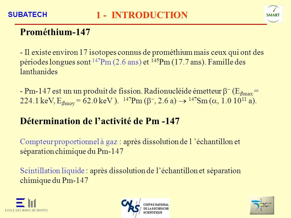 SUBATECH 1 - INTRODUCTION - Évaluation de la contamination dans des locaux - Évaluation de la contamination surfacique des conteneurs utilisés pour le transport des certains déchets radioactifs.