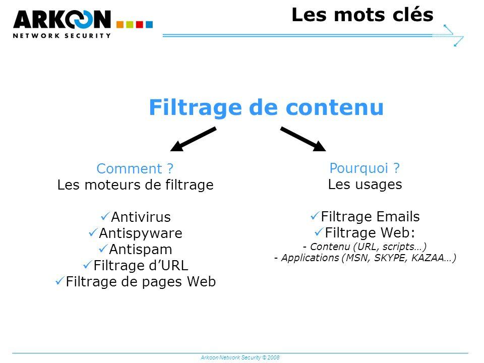 Arkoon Network Security © 2008 Les mots clés Filtrage de contenu Comment ? Les moteurs de filtrage Antivirus Antispyware Antispam Filtrage dURL Filtra