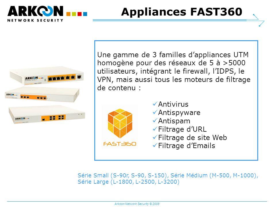 Arkoon Network Security © 2008 Appliances FAST360 Une gamme de 3 familles dappliances UTM homogène pour des réseaux de 5 à >5000 utilisateurs, intégra