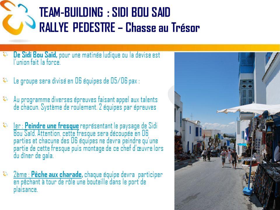 De Sidi Bou Saïd, pour une matinée ludique ou la devise est lunion fait la force. Le groupe sera divisé en 06 équipes de 05/06 pax : Au programme dive