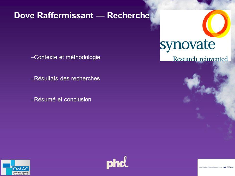 –Contexte et méthodologie –Résultats des recherches –Résumé et conclusion Dove Raffermissant Recherche