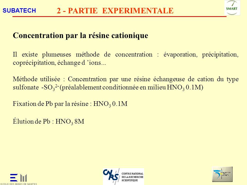 SUBATECH 2 - PARTIE EXPERIMENTALE Concentration par la résine cationique Il existe plumeuses méthode de concentration : évaporation, précipitation, co