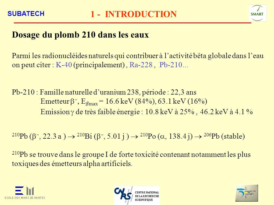 SUBATECH 1 - INTRODUCTION Dosage du plomb 210 dans les eaux Parmi les radionucléides naturels qui contribuer à lactivité bêta globale dans leau on peu