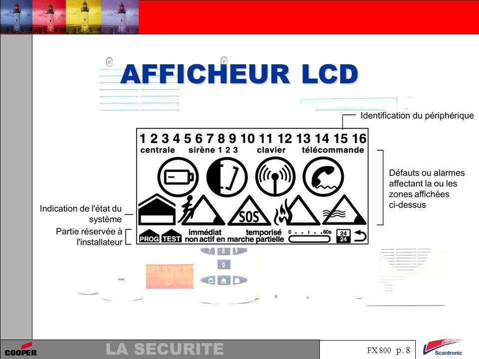 FX 800 p. 8 LA SECURITE AFFICHEUR LCD