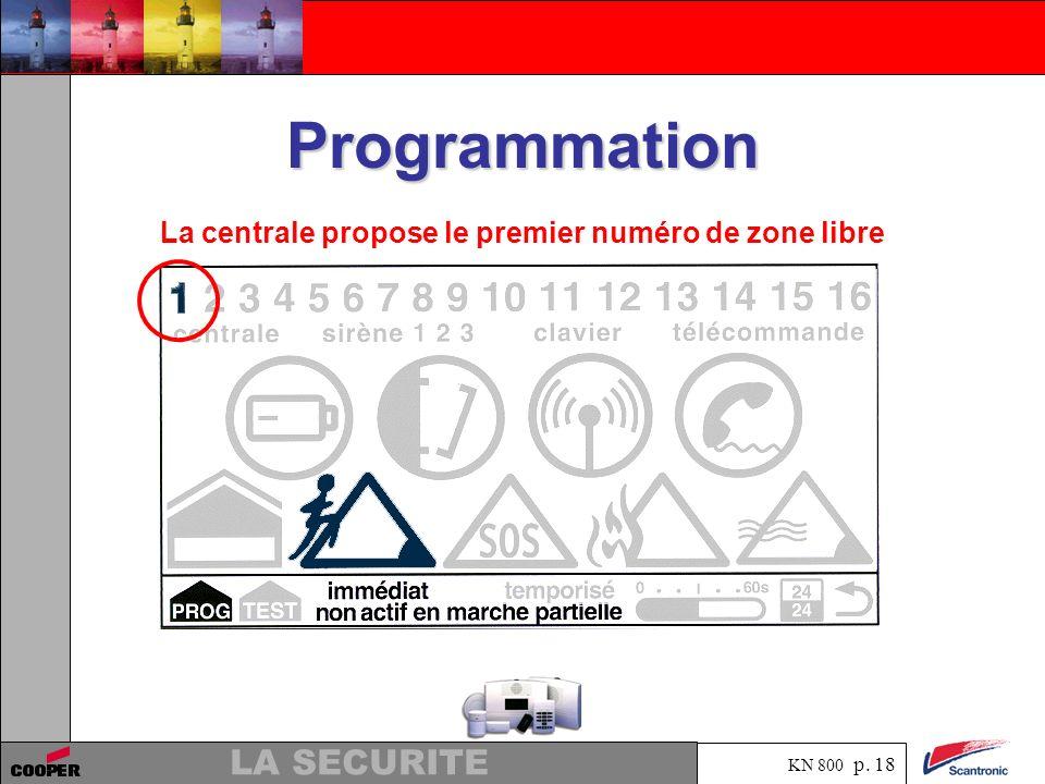 KN 800 p. 17 LA SECURITE Programmation. Apprentissage infra rouge pour lenregistrement des périphériques. La centrale propose le premier numéro de zon