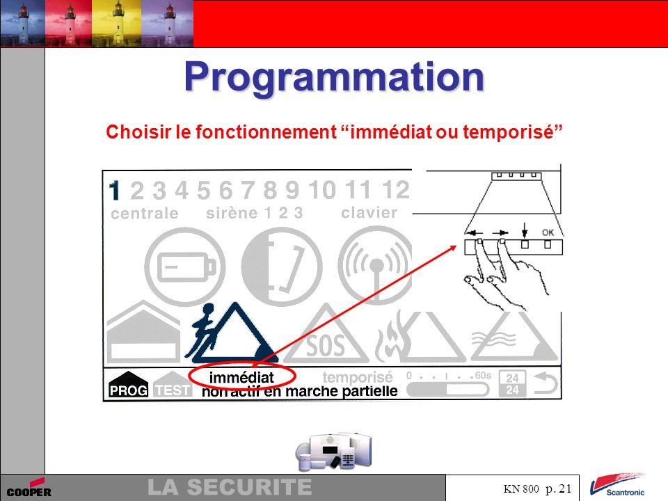 KN 800 p. 20 LA SECURITE Programmation Presser la flèche vers le bas pour aller à la ligne pour le choix du fonctionnement immédiat ou temporisé