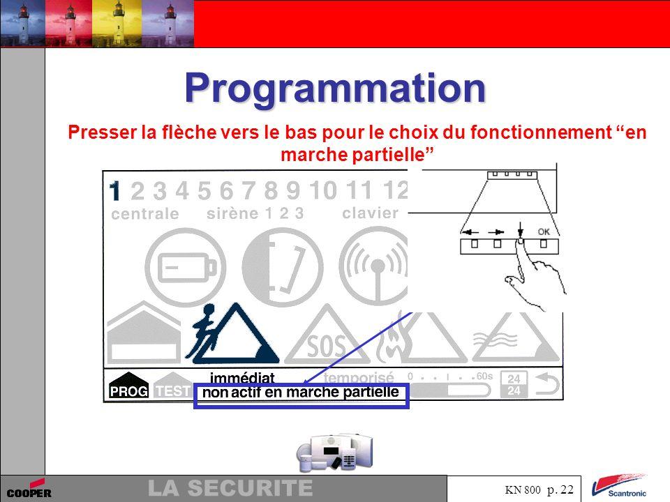 KN 800 p. 21 LA SECURITE Programmation Choisir le fonctionnement immédiat ou temporisé