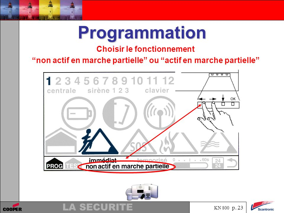 KN 800 p. 22 LA SECURITE Programmation Presser la flèche vers le bas pour le choix du fonctionnement en marche partielle