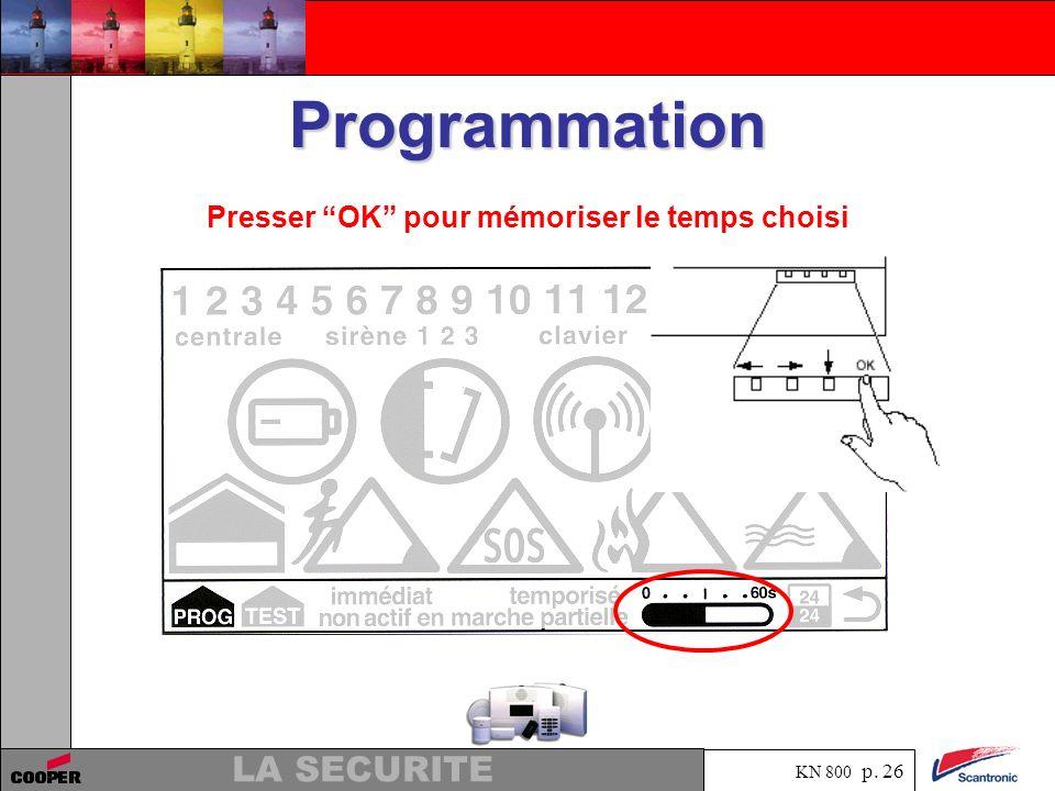 KN 800 p. 25 LA SECURITE Programmation Programmation de la temporisation dentrée de 0 à 60 secondes (par défaut 30 secondes)