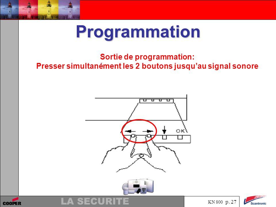 KN 800 p. 26 LA SECURITE Programmation Presser OK pour mémoriser le temps choisi