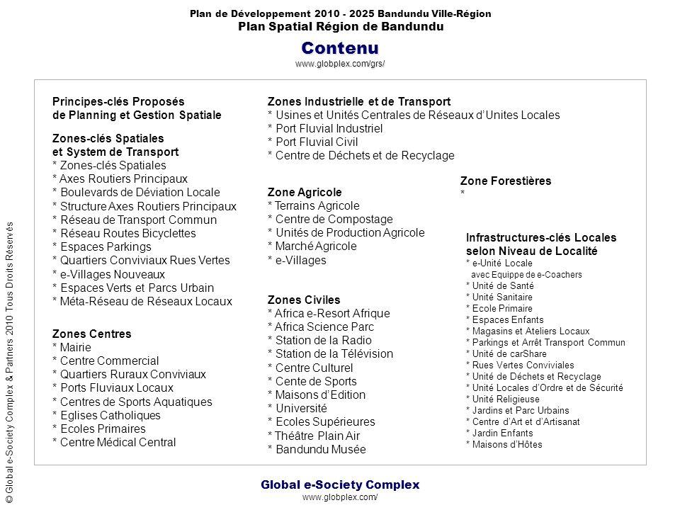 Global e-Society Complex www.globplex.com/ Plan de Développement 2010 - 2025 Bandundu Ville-Région Plan Spatial Région de Bandundu © Global e-Society Complex & Partners 2010 Tous Droits Réservés Contenu www.globplex.com/grs/ Zones-clés Spatiales et System de Transport * Zones-clés Spatiales * Axes Routiers Principaux * Boulevards de Déviation Locale * Structure Axes Routiers Principaux * Réseau de Transport Commun * Réseau Routes Bicyclettes * Espaces Parkings * Quartiers Conviviaux Rues Vertes * e-Villages Nouveaux * Espaces Verts et Parcs Urbain * Méta-Réseau de Réseaux Locaux Zones Industrielle et de Transport * Usines et Unités Centrales de Réseaux dUnites Locales * Port Fluvial Industriel * Port Fluvial Civil * Centre de Déchets et de Recyclage Zone Agricole * Terrains Agricole * Centre de Compostage * Unités de Production Agricole * Marché Agricole * e-Villages Zones Civiles * Africa e-Resort Afrique * Africa Science Parc * Station de la Radio * Station de la Télévision * Centre Culturel * Cente de Sports * Maisons dEdition * Université * Ecoles Supérieures * Théâtre Plain Air * Bandundu Musée Zones Centres * Mairie * Centre Commercial * Quartiers Ruraux Conviviaux * Ports Fluviaux Locaux * Centres de Sports Aquatiques * Eglises Catholiques * Ecoles Primaires * Centre Médical Central Infrastructures-clés Locales selon Niveau de Localité * e-Unité Locale avec Equippe de e-Coachers * Unité de Santé * Unité Sanitaire * Ecole Primaire * Espaces Enfants * Magasins et Ateliers Locaux * Parkings et Arrêt Transport Commun * Unité de carShare * Rues Vertes Conviviales * Unité de Déchets et Recyclage * Unité Locales dOrdre et de Sécurité * Unité Religieuse * Jardins et Parc Urbains * Centre dArt et dArtisanat * Jardin Enfants * Maisons dHôtes Principes-clés Proposés de Planning et Gestion Spatiale Zone Forestières *