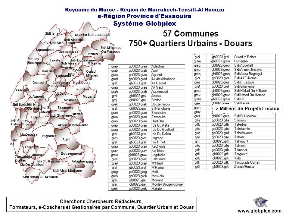Royaume du Maroc - Région de Marrakech-Tensift-Al Haouza e-Région Province d'Essaouira Système Globplex 57 Communes 750+ Quartiers Urbains - Douars ww