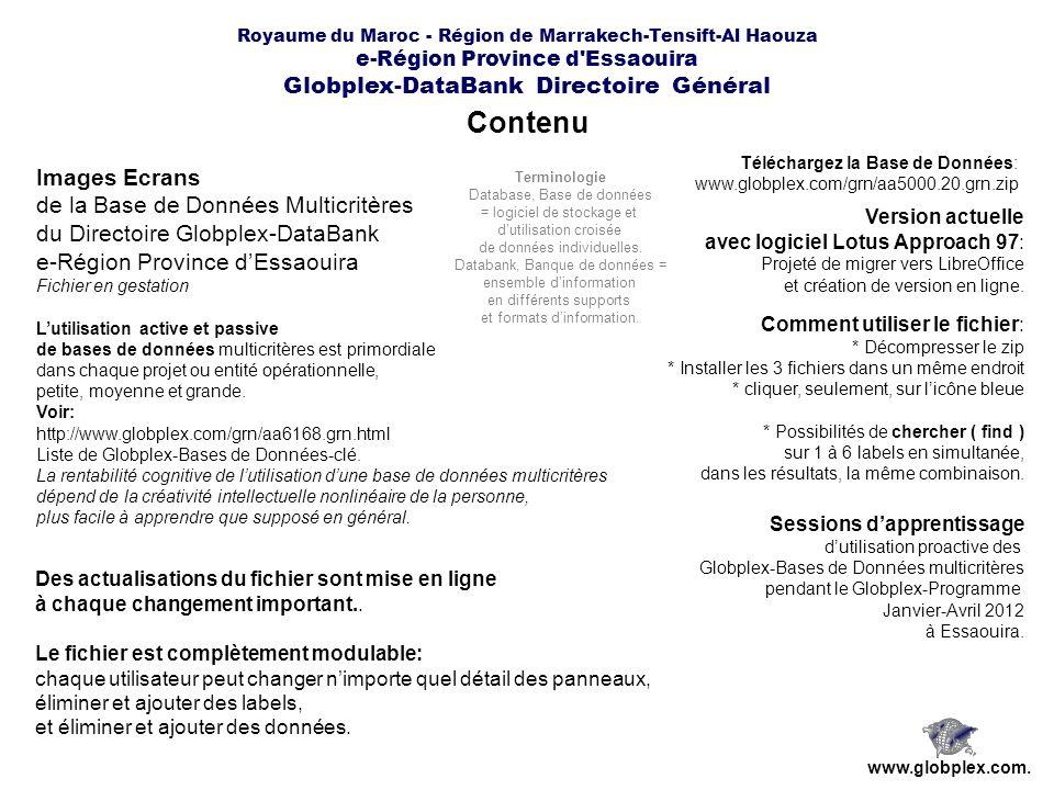 Royaume du Maroc - Région de Marrakech-Tensift-Al Haouza e-Région Province d Essaouira Globplex-DataBank Directoire Général www.globplex.com.