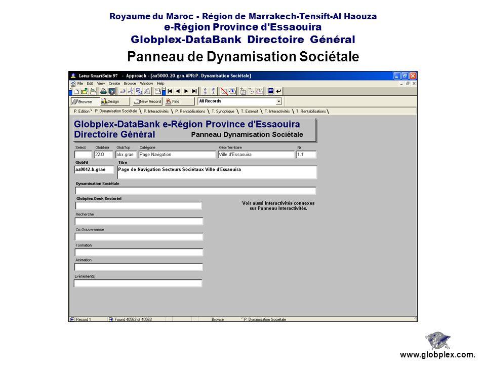 Royaume du Maroc - Région de Marrakech-Tensift-Al Haouza e-Région Province d Essaouira Globplex-DataBank Directoire Général Panneau de Dynamisation Sociétale www.globplex.com.