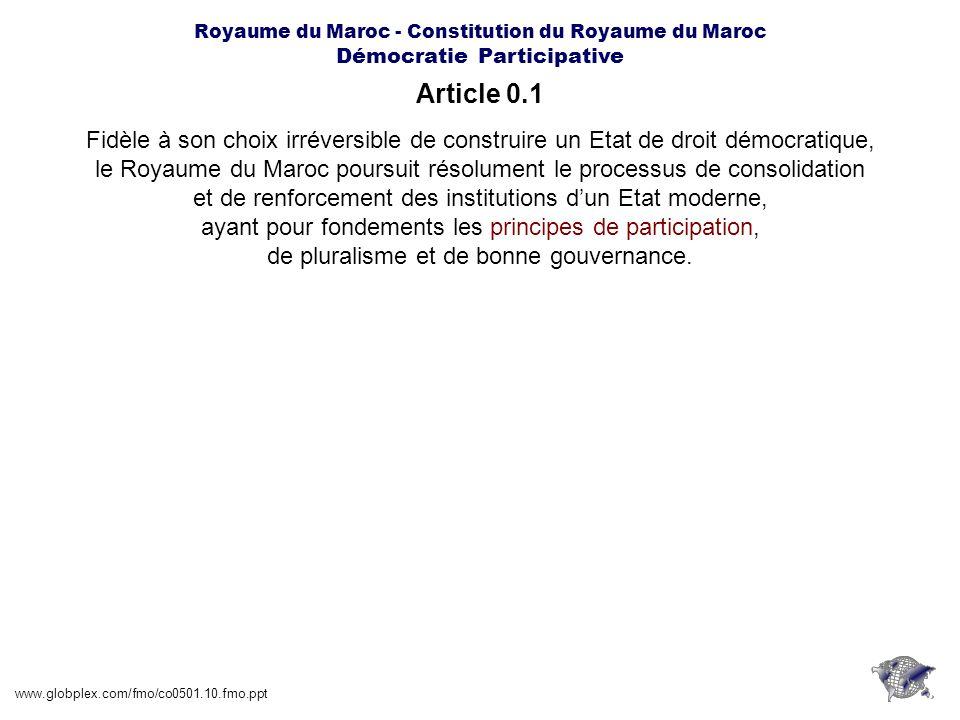 Royaume du Maroc - Constitution du Royaume du Maroc Démocratie Participative Article 1.1 www.globplex.com/fmo/co0501.10.fmo.ppt Le Maroc est une monarchie constitutionnelle, démocratique, parlementaire et sociale.
