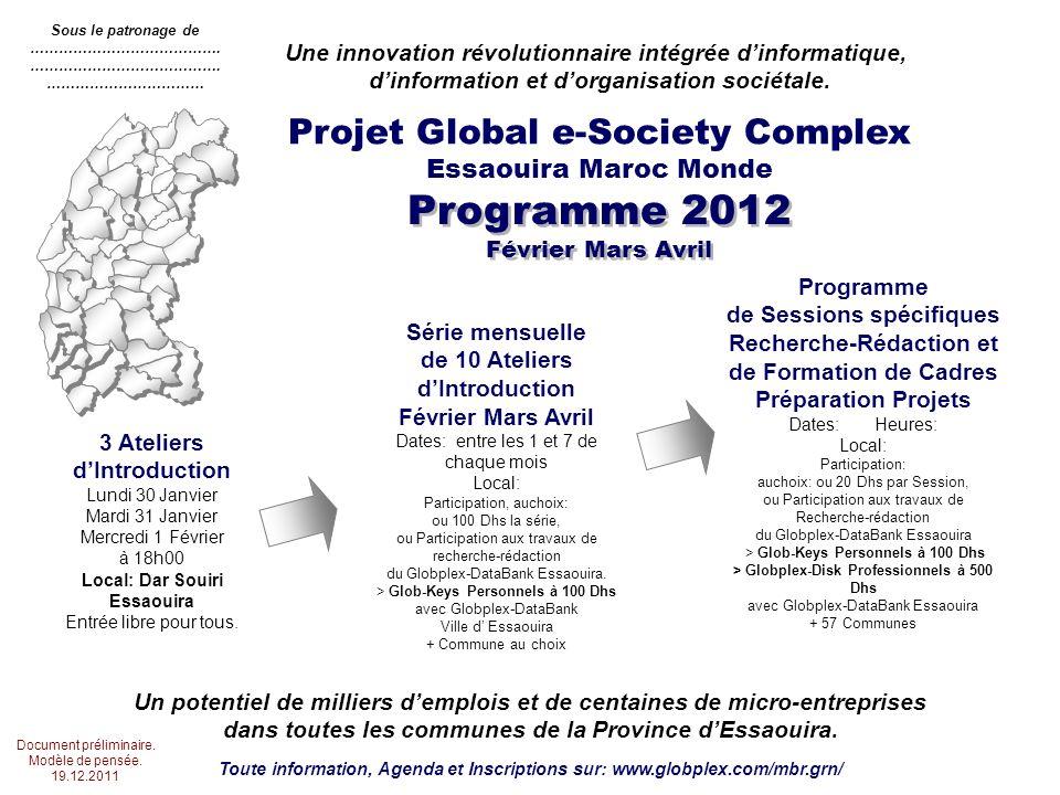 Programme 2012 Février Mars Avril Projet Global e-Society Complex Essaouira Maroc Monde Une innovation révolutionnaire intégrée dinformatique, dinformation et dorganisation sociétale.
