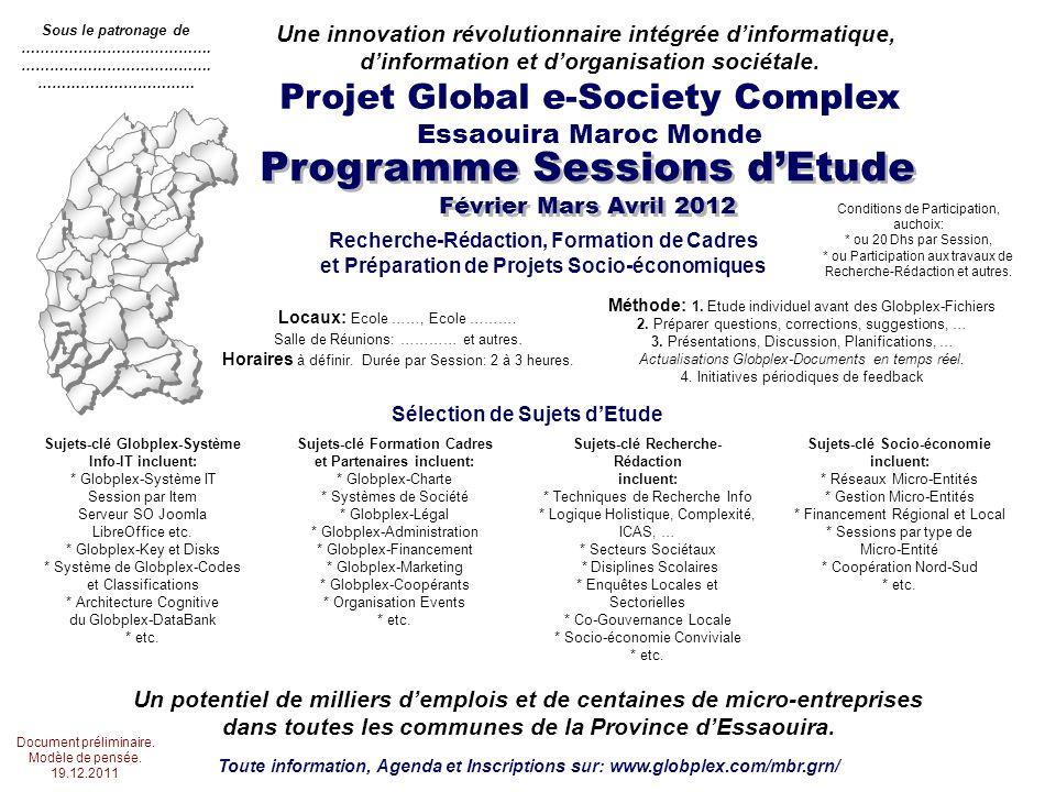 Programme Sessions dEtude Février Mars Avril 2012 Projet Global e-Society Complex Essaouira Maroc Monde Une innovation révolutionnaire intégrée dinformatique, dinformation et dorganisation sociétale.
