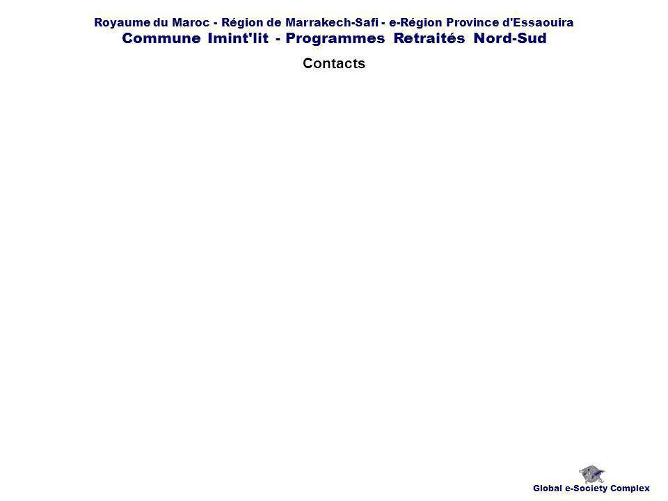 Royaume du Maroc - Région de Marrakech-Safi - e-Région Province d Essaouira Commune Imint lit - Programmes Retraités Nord-Sud Contacts Global e-Society Complex