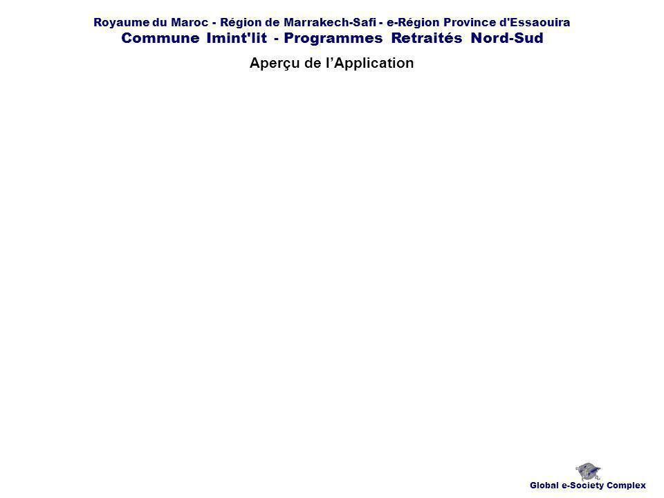 Royaume du Maroc - Région de Marrakech-Safi - e-Région Province d Essaouira Commune Imint lit - Programmes Retraités Nord-Sud Aperçu de lApplication Global e-Society Complex