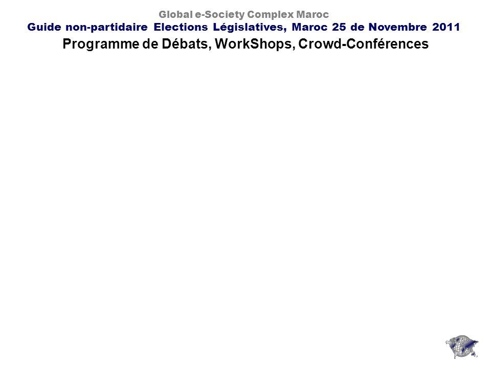 Programme de Débats, WorkShops, Crowd-Conférences Global e-Society Complex Maroc Guide non-partidaire Elections Législatives, Maroc 25 de Novembre 2011