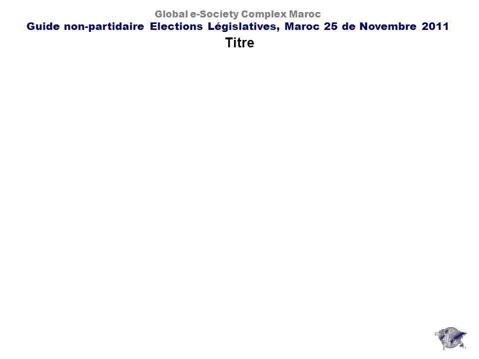 Titre Global e-Society Complex Maroc Guide non-partidaire Elections Législatives, Maroc 25 de Novembre 2011