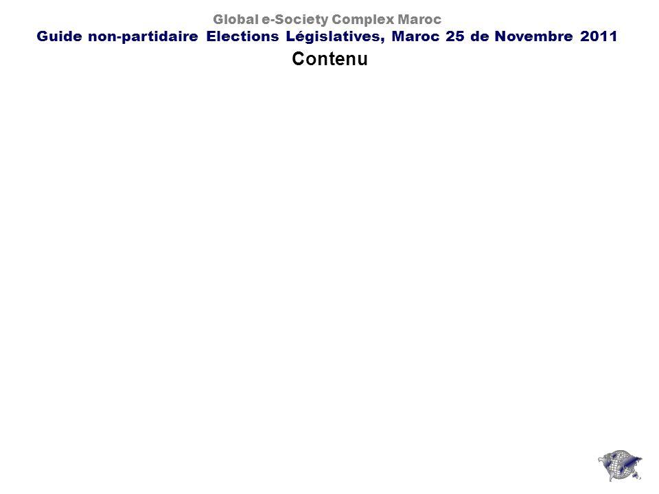 Contenu Global e-Society Complex Maroc Guide non-partidaire Elections Législatives, Maroc 25 de Novembre 2011
