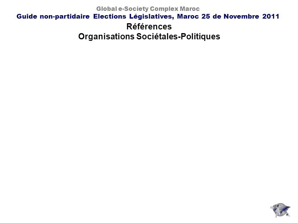 Références Organisations Sociétales-Politiques Global e-Society Complex Maroc Guide non-partidaire Elections Législatives, Maroc 25 de Novembre 2011