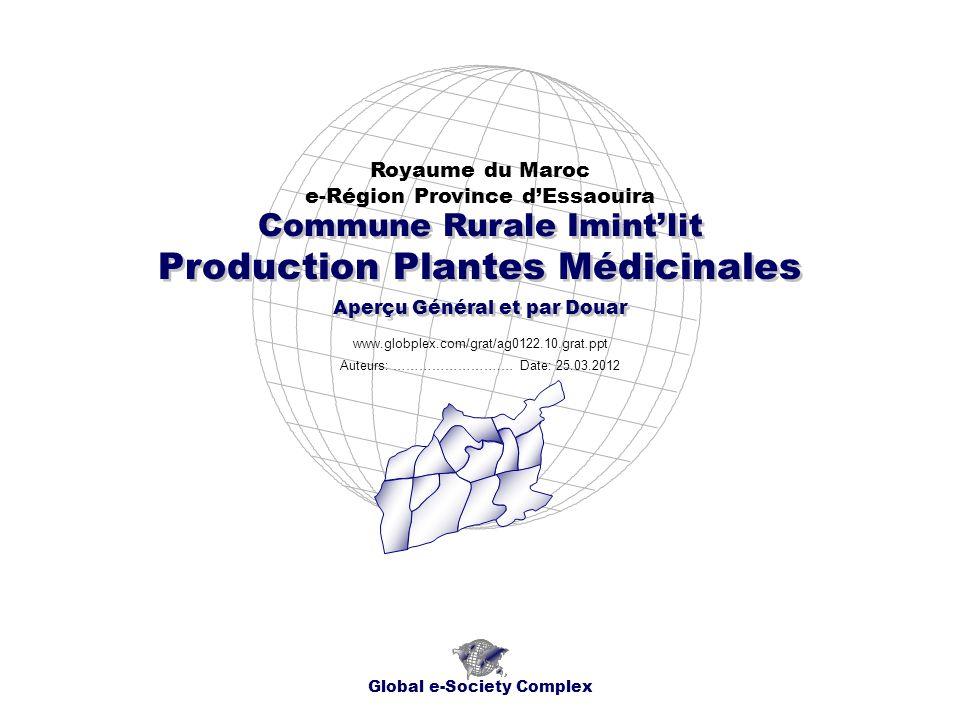 Production Plantes Médicinales Royaume du Maroc e-Région Province dEssaouira Global e-Society Complex www.globplex.com/grat/ag0122.10.grat.ppt Commune