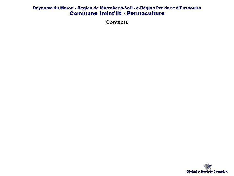 Royaume du Maroc - Région de Marrakech-Safi - e-Région Province d Essaouira Commune Imint lit - Permaculture Contacts Global e-Society Complex