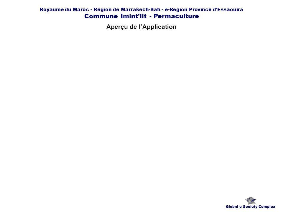 Royaume du Maroc - Région de Marrakech-Safi - e-Région Province d Essaouira Commune Imint lit - Permaculture Aperçu de lApplication Global e-Society Complex