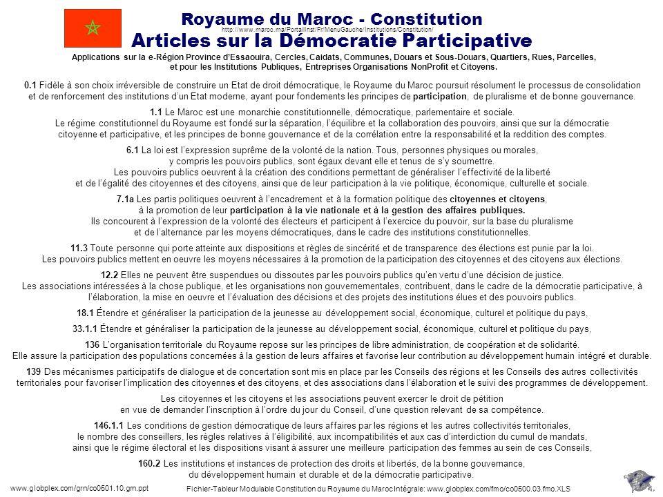 Royaume du Maroc - Constitution Articles sur la Démocratie Participative www.globplex.com/grn/co0501.10.grn.ppt 160.2 Les institutions et instances de