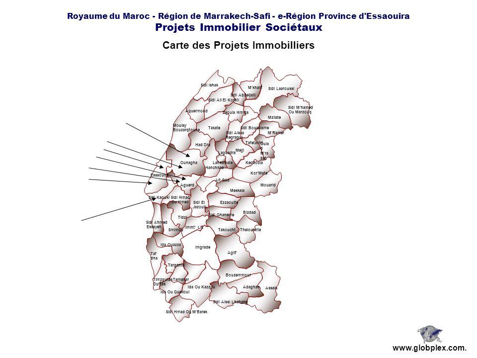 Royaume du Maroc - Région de Marrakech-Safi - e-Région Province d'Essaouira Projets Immobilier Sociétaux www.globplex.com. Carte des Projets Immobilli