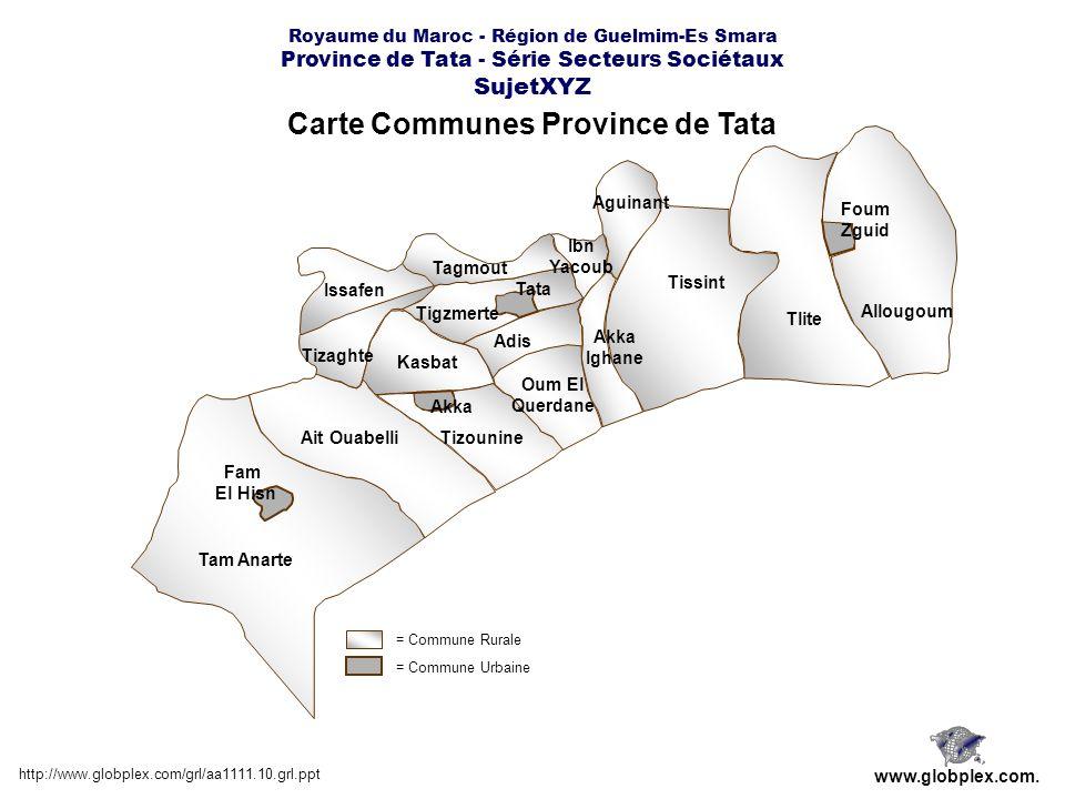 Carte Communes Province de Tata http://www.globplex.com/grl/aa1111.10.grl.ppt www.globplex.com. Tam Anarte Allougoum Tlite Tissint Tizounine Tizaghte