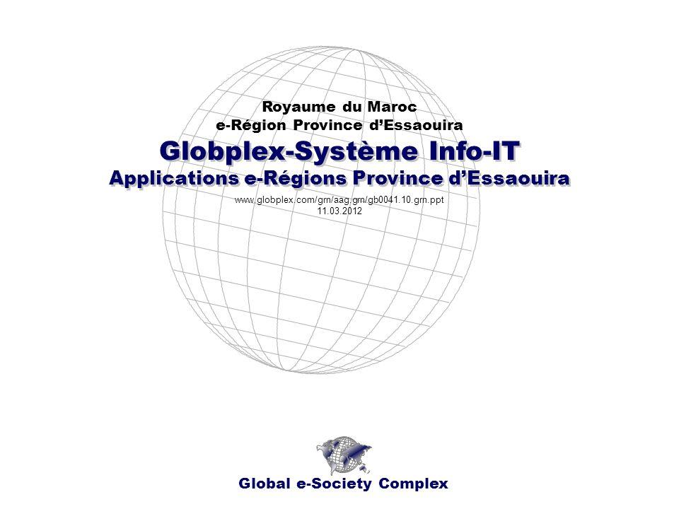 Globplex-Système Info-IT Royaume du Maroc e-Région Province dEssaouira Global e-Society Complex www.globplex.com/grn/aag.grn/gb0041.10.grn.ppt 11.03.2012 Applications e-Régions Province dEssaouira