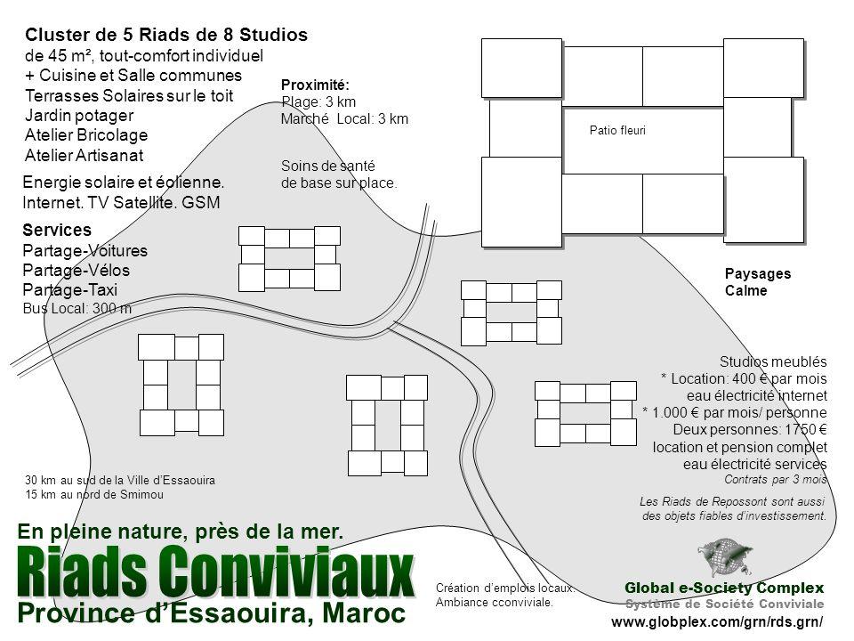 Cluster de 5 Riads de 8 Studios de 45 m², tout-comfort individuel + Cuisine et Salle communes Terrasses Solaires sur le toit Jardin potager Atelier Bricolage Atelier Artisanat Energie solaire et éolienne.
