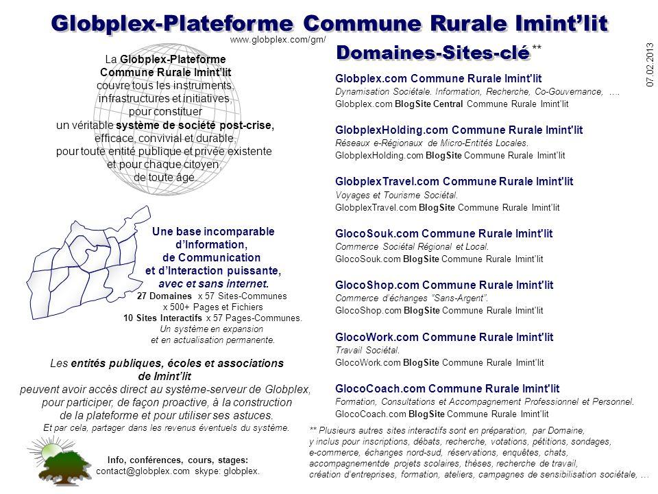 Globplex-Plateforme Commune Rurale Imintlit Une base incomparable dInformation, de Communication et dInteraction puissante, avec et sans internet. 27