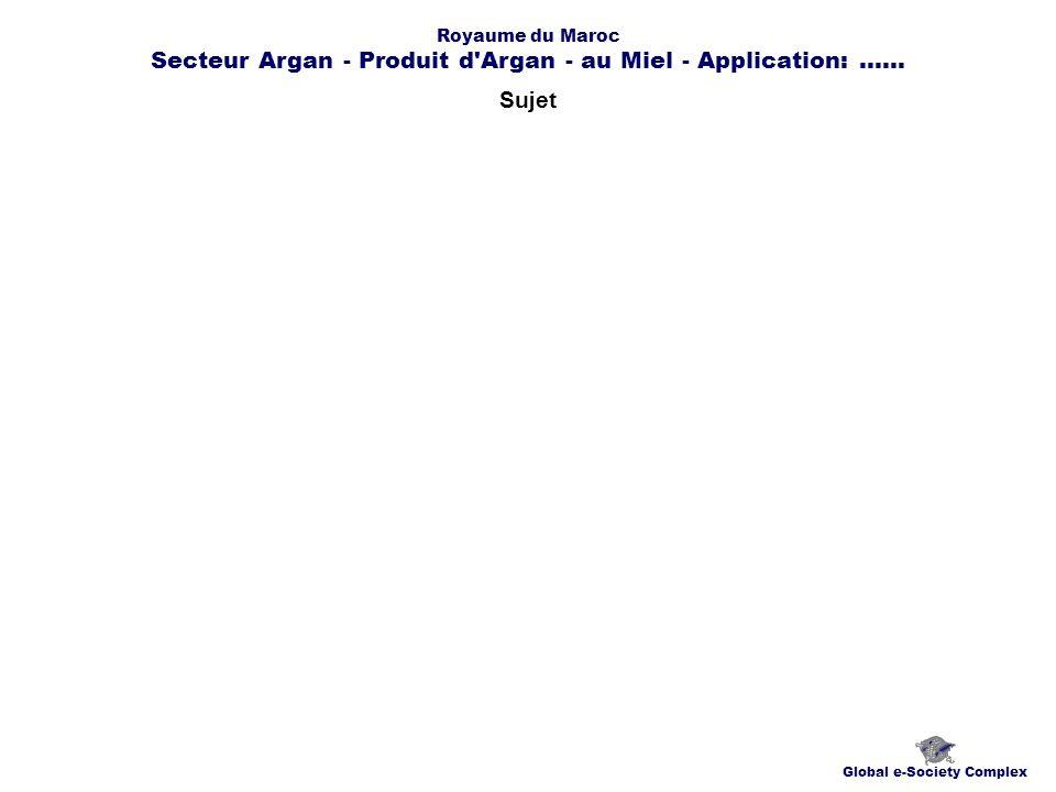Sujet Global e-Society Complex Royaume du Maroc Secteur Argan - Produit d Argan - au Miel - Application:......